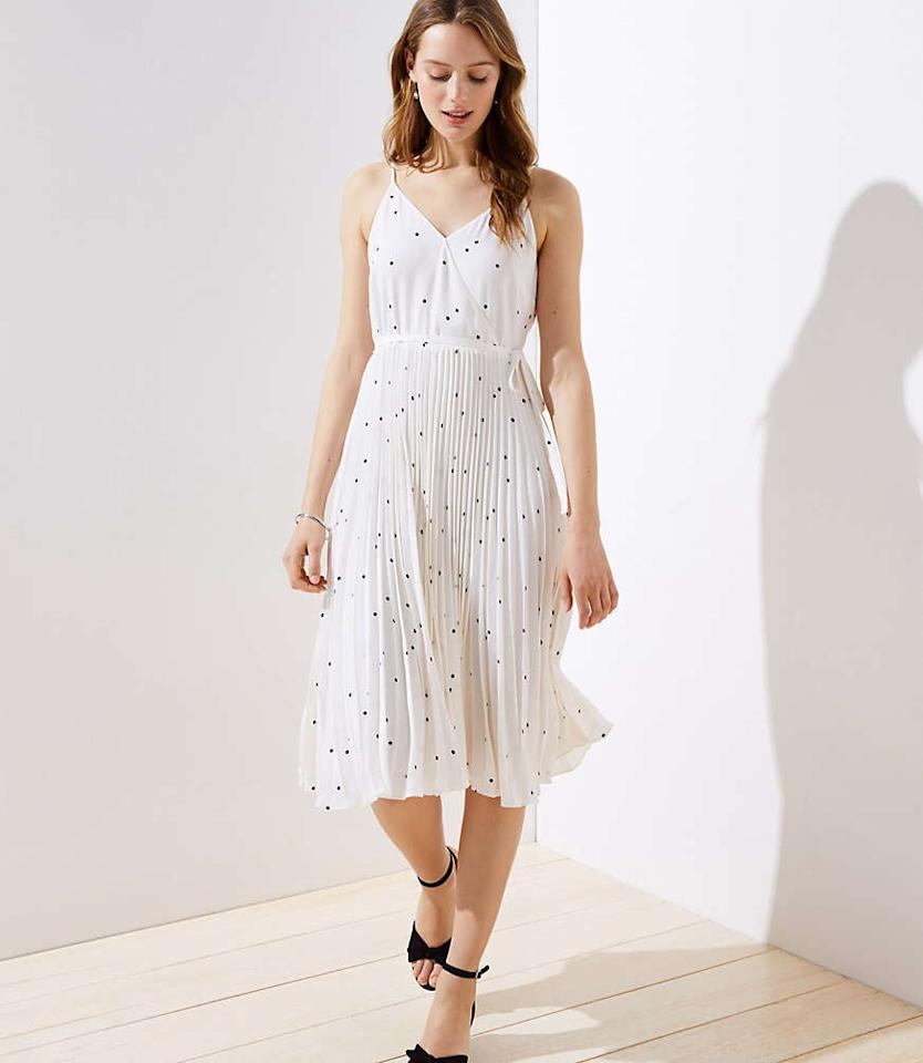 "<p>Wear this <a href=""https://www.popsugar.com/buy/Loft-Dotted-Pleated-Wrap-Midi-Dress-474134?p_name=Loft%20Dotted%20Pleated%20Wrap%20Midi%20Dress&retailer=loft.com&pid=474134&price=129&evar1=fab%3Aus&evar9=46460215&evar98=https%3A%2F%2Fwww.popsugar.com%2Ffashion%2Fphoto-gallery%2F46460215%2Fimage%2F46460291%2FLoft-Dotted-Pleated-Wrap-Midi-Dress&list1=shopping%2Cfall%20fashion%2Cdresses%2Cfall%2Csummer%2Csummer%20fashion&prop13=mobile&pdata=1"" rel=""nofollow"" data-shoppable-link=""1"" target=""_blank"" class=""ga-track"" data-ga-category=""Related"" data-ga-label=""https://www.loft.com/dotted-pleated-wrap-midi-dress/495511?cid=SM18245&amp;utm_source=curalate_showroom"" data-ga-action=""In-Line Links"">Loft Dotted Pleated Wrap Midi Dress</a> ($129) with comfy heels and a leather jacket.</p>"