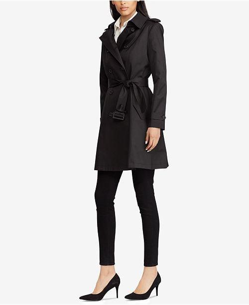 """<p>This <a href=""""https://www.popsugar.com/buy/Lauren-Ralph-Lauren-Belted-Water-Resistant-Trench-Coat-490266?p_name=Lauren%20Ralph%20Lauren%20Belted%20Water%20Resistant%20Trench%20Coat&retailer=macys.com&pid=490266&price=129&evar1=fab%3Aus&evar9=46613565&evar98=https%3A%2F%2Fwww.popsugar.com%2Ffashion%2Fphoto-gallery%2F46613565%2Fimage%2F46613569%2FLauren-Ralph-Lauren-Belted-Water-Resistant-Trench-Coat&list1=shopping%2Cfall%20fashion%2Ccoats%2Cfall%2Cmacys&prop13=mobile&pdata=1"""" rel=""""nofollow"""" data-shoppable-link=""""1"""" target=""""_blank"""" class=""""ga-track"""" data-ga-category=""""Related"""" data-ga-label=""""https://www.macys.com/shop/product/lauren-ralph-lauren-belted-water-resistant-trench-coat-created-for-macys-created-for-macys?ID=6398627&amp;CategoryID=269&amp;swatchColor=Moss#fn=sp%3D1%26spc%3D1060%26ruleId%3D105%7CBOOST%20SAVED%20SET%7CBOOST%20ATTRIBUTE%26searchPass%3DmatchNone%26slotId%3D19"""" data-ga-action=""""In-Line Links"""">Lauren Ralph Lauren Belted Water Resistant Trench Coat</a> ($129) is a classic staple everyone should have.</p>"""