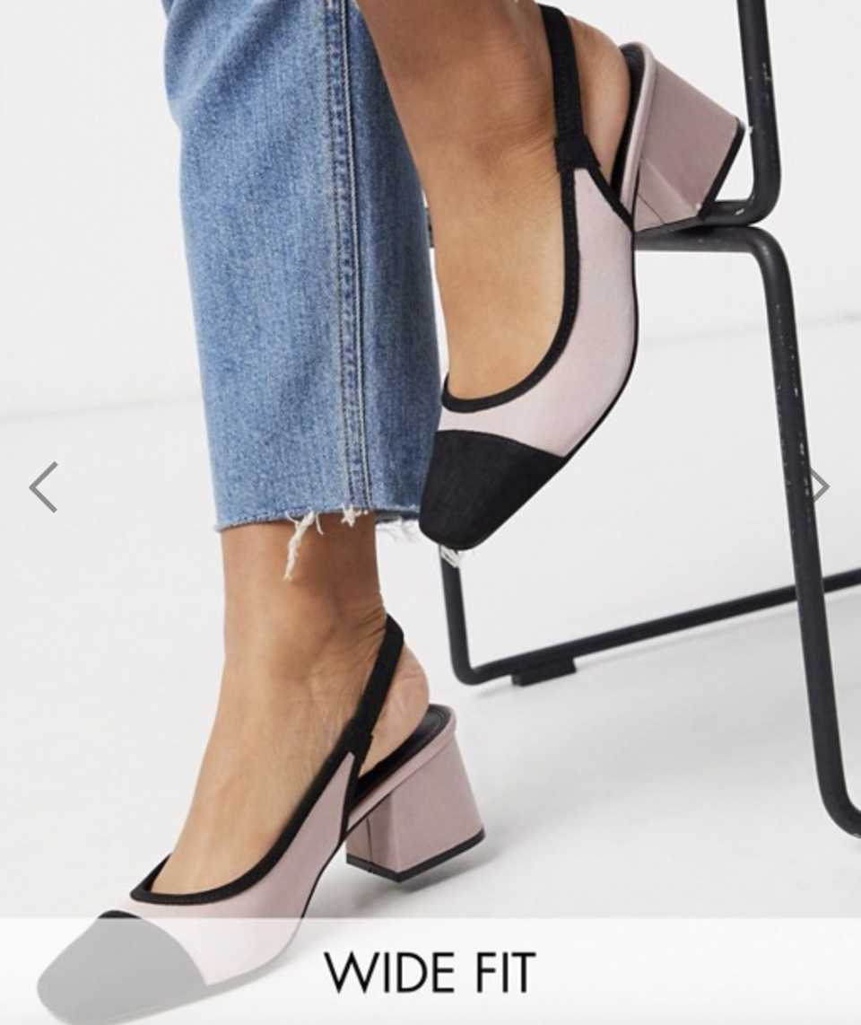 ASOS Wide Fit Whisker slingback mid-heels in blush, S$38.91 (was S$55.58). PHOTO: ASOS