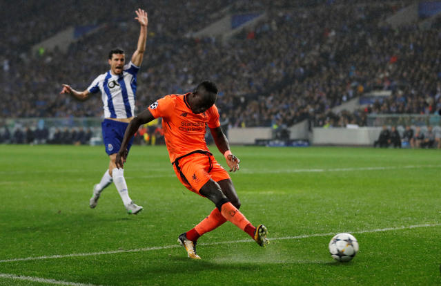 Soccer Football - Champions League Round of 16 First Leg - FC Porto vs Liverpool - Estadio do Dragao, Porto, Portugal - February 14, 2018 Liverpool's Sadio Mane scores their third goal Action Images via Reuters/Matthew Childs