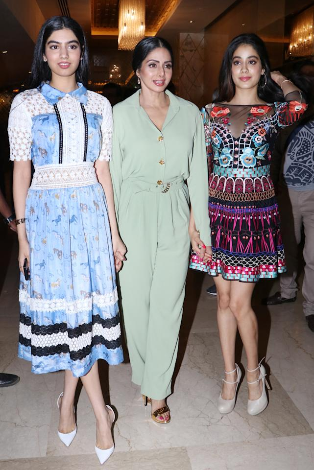 <p>The chic mother-daughter trio are on their way to become the next style icons. Sridevi and her daughters, Kushi and Jhanvi, were clicked at the trailer launch of Sridevi's new movie 'Mom', looking like a million bucks. </p>