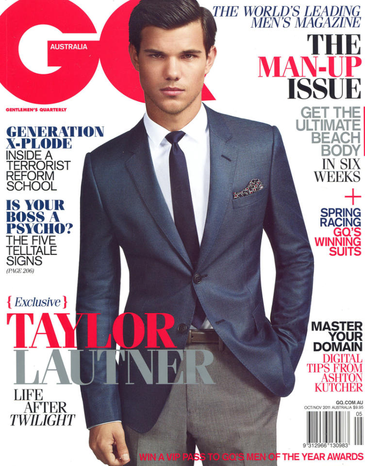 Taylor Lautner gets suited and booted for the cover of GQ Australia magazine.