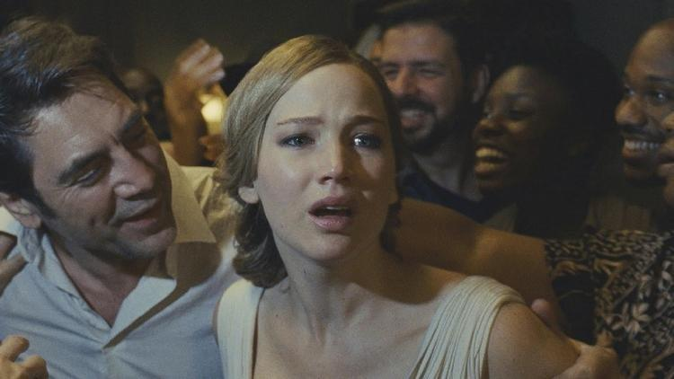 "Javier Bardem and Jennifer Lawrence star in ""mother!"""