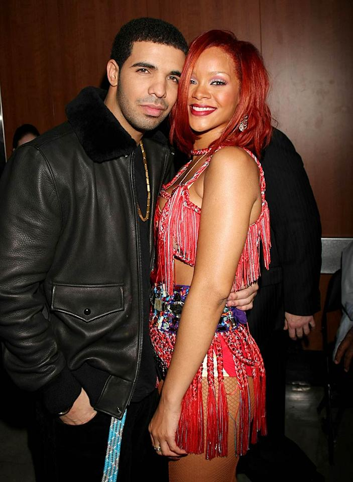 "Though Rihanna and Drake have denied that they are an item, they've been photographed getting cozy in Canadian nightclubs, and various sources have said they've seen the music superstars being quite, um, friendly with one another. While we can't confirm the status of their relationship, it wouldn't be all that surprising if RiRi and Drake were hooking up! Arnold Turner/<a href=""http://www.wireimage.com"" target=""new"">WireImage.com</a> - February 13, 2011"