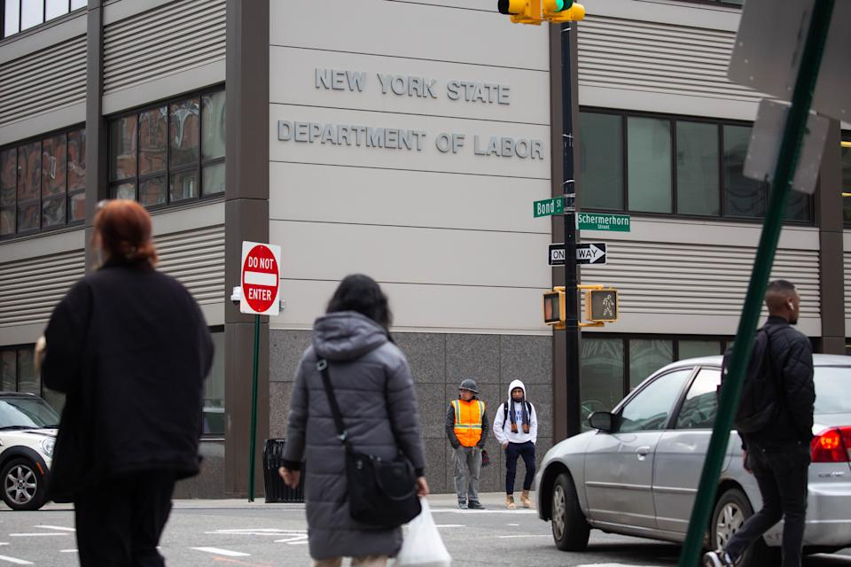 NEW YORK, Jan. 8, 2021 -- Pedestrians pass in front of the New York State Department of Labor building, in New York, United States, Jan. 8, 2021. U.S. employers slashed 140,000 jobs in December, the first monthly decline since April 2020, as the recent COVID-19 spikes disrupted labor market recovery, the Labor Department reported Friday.  The unemployment rate, which has been trending down over the past seven months, remained unchanged at 6.7 percent, according to the monthly employment report. (Photo by Michael Nagle/Xinhua via Getty) (Xinhua/Michael Nagle via Getty Images)