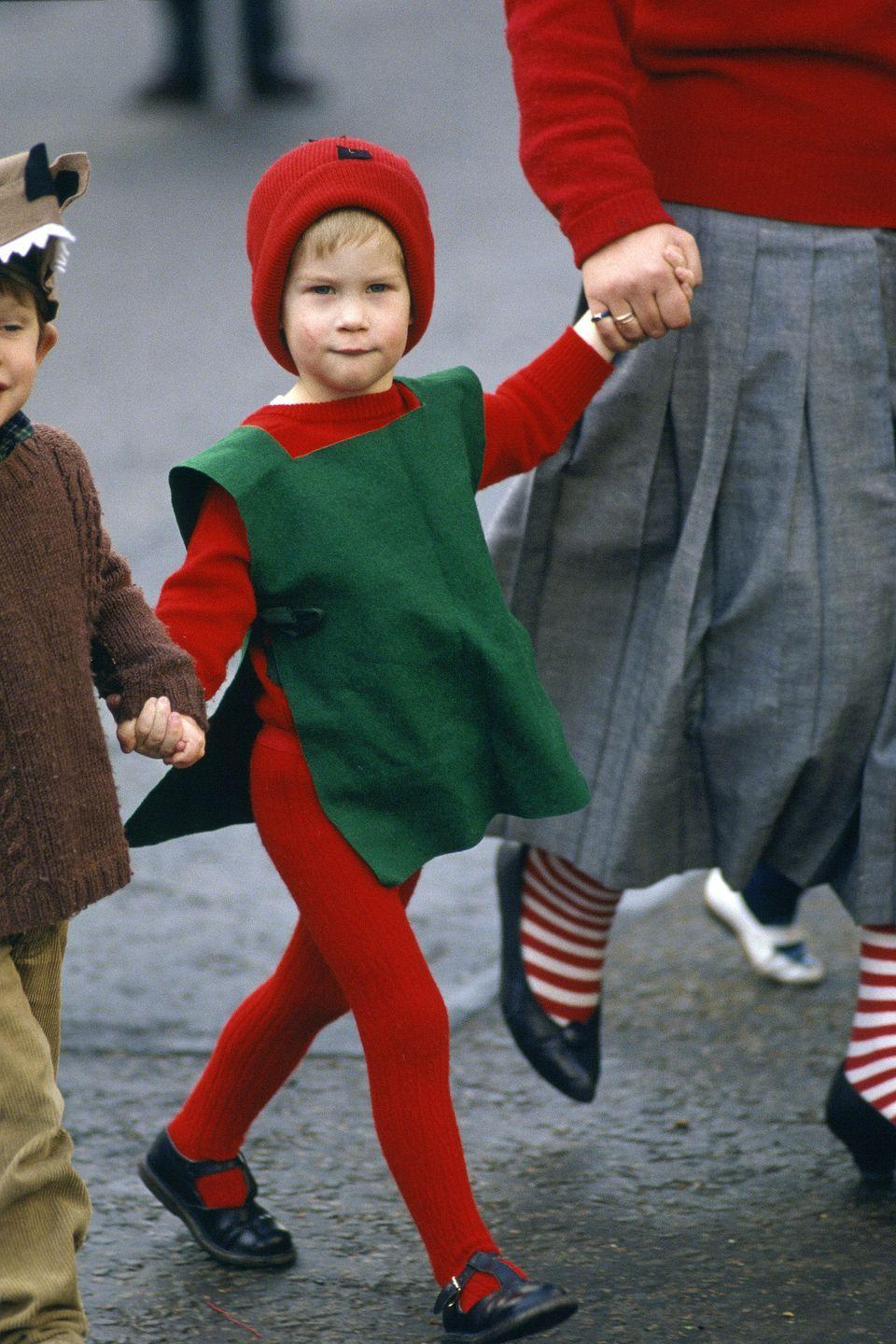 <p>Prince Harry dressed as a red goblin for his nursery school Nativity play. </p>