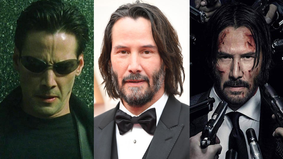 Keanu Reeves was asked who would come out on top in a fight between his iconic roles. (Photo by Warner Bros/Steve Granitz/WireImage/Lionsgate)