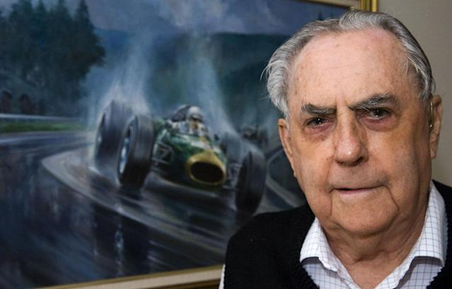 FILE - In this Sept. 8, 2009, file photo Jack Brabham poses for a photo at his home on the Gold Coast, in Australia. Three-time Formula One champion Brabham died early Monday, May 19, 2014, at his home on the Gold Coast, the Australian Grand Prix Corporation said. He was 88. (AP Photo/Steve Holland, File)