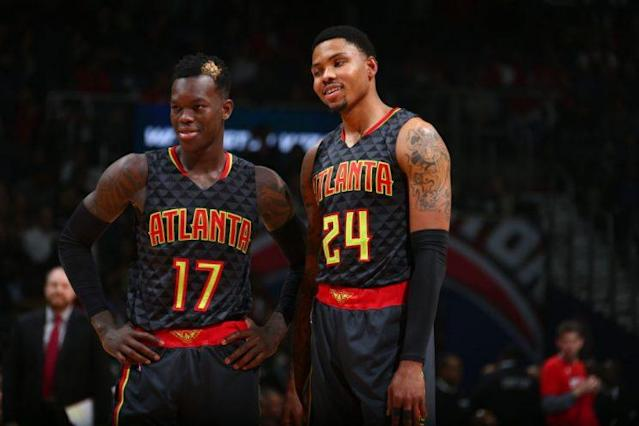 Dennis Schroder and Kent Bazemore are now the core of the Atlanta Hawks. (Getty)