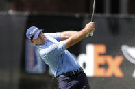 Ryan Armour hits his approach shot on the eighth fairway during the second round of the Rocket Mortgage Classic golf tournament, Friday, July 3, 2020, at the Detroit Golf Club in Detroit. (AP Photo/Carlos Osorio)
