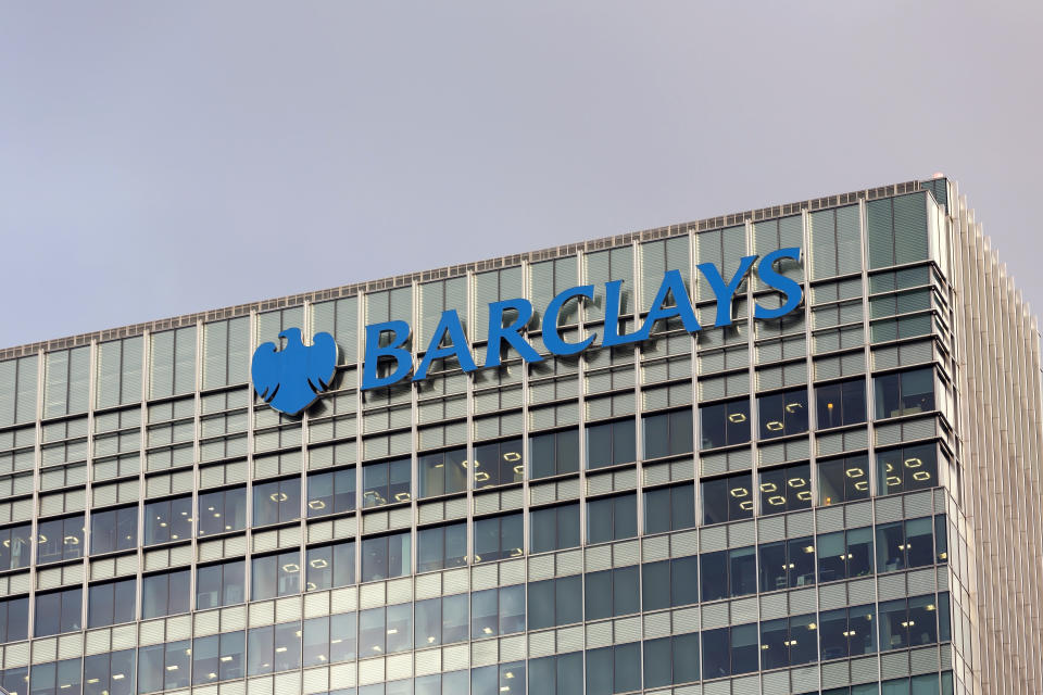 London, UK - October 29, 2013: Corporate branding on the headquarter buildings of Barclays at day in London.