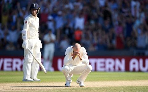 Nathan Lyon of Australia reacts after an appeal for LBW against Ben Stokes of England is given not out - Credit: GETTY IMAGES