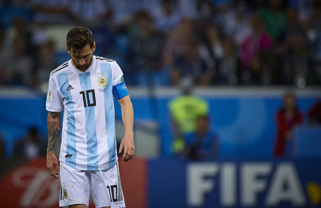 Under pressure: Lionel Messi feels the weight of expectation as his side go 3-0 down. (Getty)