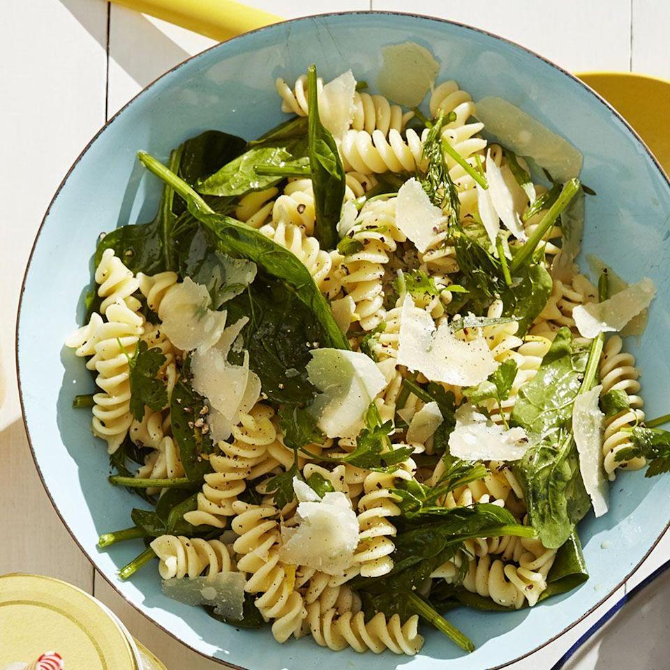 """<p>No need to worry about keeping this dish warm, as this pasta salad tastes even better when it's cold. </p><p><u><em><strong><a href=""""https://www.womansday.com/food-recipes/food-drinks/a27484033/lemon-marinated-herb-pasta-salad-recipe/"""" rel=""""nofollow noopener"""" target=""""_blank"""" data-ylk=""""slk:Get the recipe for Lemon Marinated Herb Pasta Salad"""" class=""""link rapid-noclick-resp"""">Get the recipe for Lemon Marinated Herb Pasta Salad</a>.</strong></em></u></p>"""