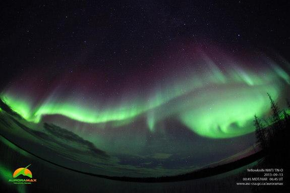 An aurora is photographed by the Auroramax automated camera in Canada's Northwest Territories on Sept. 13, 2013.