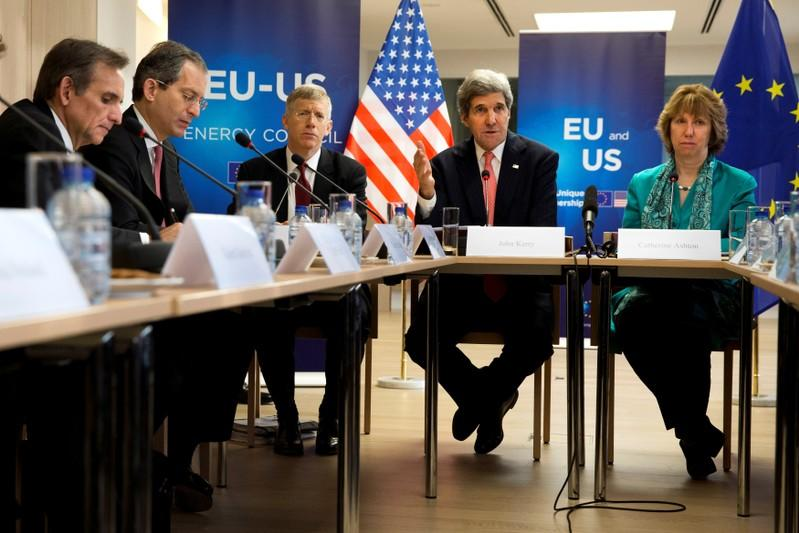 FILE PHOTO: U.S. Secretary of State Kerry, speaks next to European Union High Representative Ashton in Brussels
