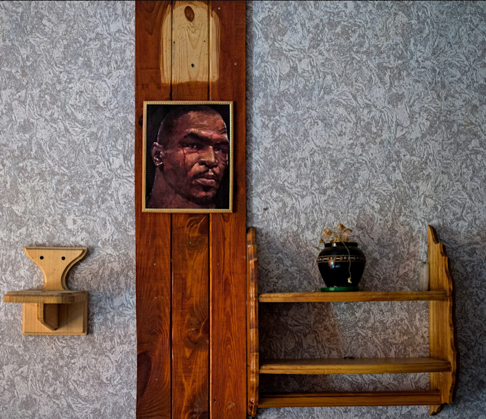 A photo of boxer Mike Tyson graces the inside of this Ukrainian prison cell.