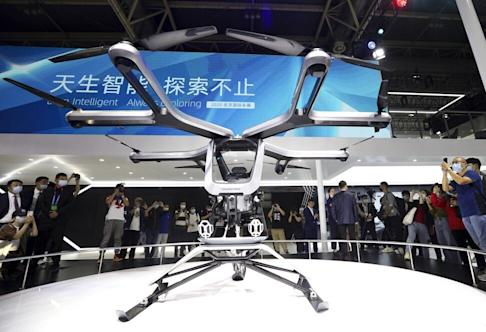 XPeng unveils its Kiwigogo flying car at the 2020 Beijing International Automobile Exhibition on Saturday September 26, 2020. Photo: Simon Song
