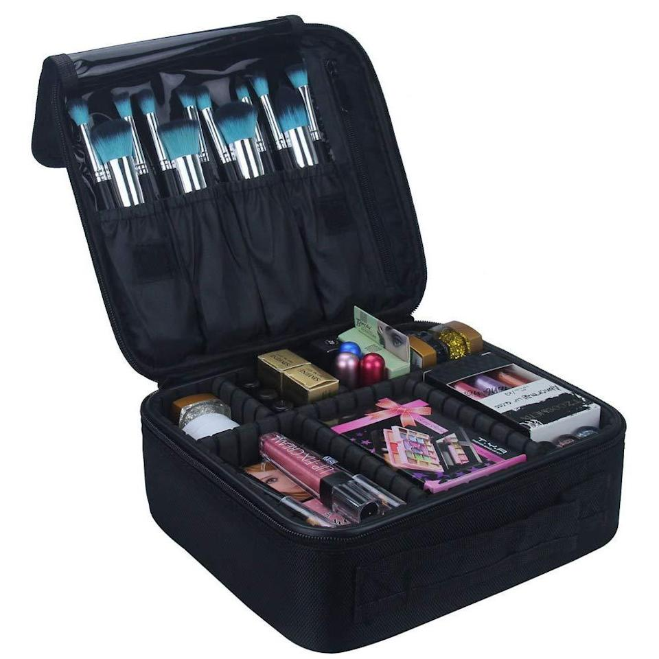 "<h3><strong>Relavel Travel Makeup Train Case</strong></h3><br><strong>The Packing Cubes-Meet-Makeup Organizer</strong><br><br>You know those luggage packing cubes that made packing for vacation (back when that was a thing we did?) so much easier? Think of this travel case as the beauty equivalent of that.<br><br><strong>The Hype: </strong>4.6 out of 5 stars and 13,105 reviews on <a href=""https://amzn.to/3j84ula"" rel=""nofollow noopener"" target=""_blank"" data-ylk=""slk:Amazon"" class=""link rapid-noclick-resp"">Amazon</a><br><br><strong>Organization Obsessives Say: </strong>""It was a steal! I've owned a ton of make up bags over the years, but I will keep using this one. The bag is sturdy, protects all your products. The organizers are really helpful! There is a section just for your brushes and a flap that separates them from your products keeping them clean. This case has stayed clean unlike all my other previous makeup bags where products would spill. I would definitely recommend the purchase!"" — Jennifer, Amazon Reviewer<br><br><strong>Relavel</strong> Travel Makeup Train Case Makeup Cosmetic Case , $, available at <a href=""https://www.amazon.com/Cosmetic-Organizer-Adjustable-Cosmetics-accessories/dp/B072B94GXN/ref=sr_1_11"" rel=""nofollow noopener"" target=""_blank"" data-ylk=""slk:Amazon"" class=""link rapid-noclick-resp"">Amazon</a>"