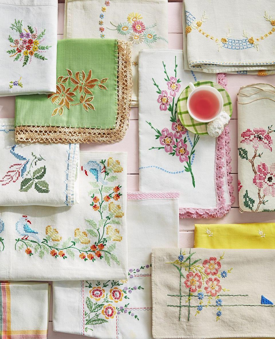 """<p>Trust us-<em>nothing</em> will complement your place settings and table centerpieces better than a delicately designed piece of linen. Keep an eye out for tablecloths or napkins with floral embroidery to stay true to the seasonal theme. </p><p><a rel=""""nofollow noopener"""" href=""""https://www.amazon.com/Violet-Linen-Renaissance-Embroidered-Tablecloth/dp/B002IFJWZE/"""" target=""""_blank"""" data-ylk=""""slk:SHOP TABLECLOTHS"""" class=""""link rapid-noclick-resp"""">SHOP TABLECLOTHS</a></p>"""