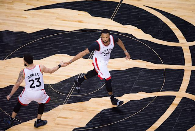 Fred VanVleet and Norman Powell helped spark Toronto to victory off the Raptors bench. (AP)