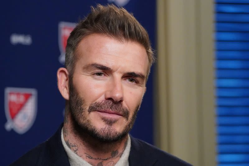 Former soccer player and MLS team owner David Beckham speaks during an interview in the Manhattan borough of New York City