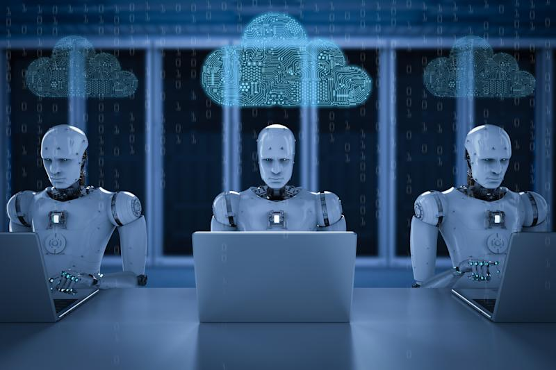 Robots on computers with network clouds above their heads.