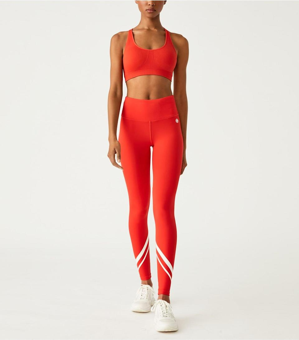<p>Get sweaty in this fun, comfortable <span>Tory Sport Seamless Adjustable Racerback Bra</span> ($68) and <span>High-Rise Weightless Chevron Leggings</span> ($128). Nobody will be able to miss you in this bright set.</p>