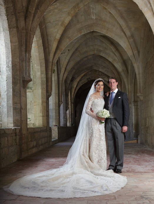 <p>The wedding of Princess Claire of Luxembourg and Prince Felix took place on September 21, 2013 at Sainte Marie-Madeleine Basilica in France. Princess Claire's Elie Saab wedding dress was made from an ivory-coloured silk, intricately embroidered with Chantilly lace floral designs, and silver thread.</p>