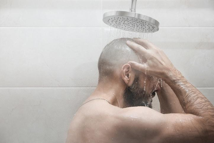 A person taking a shower