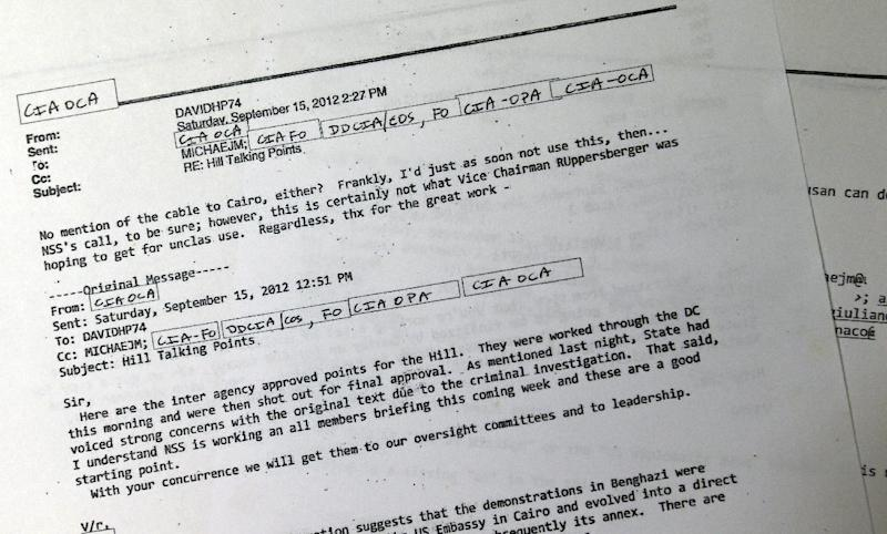An email from then-CIA Director David Petraeus is among the 99 pages of emails regarding Benghazi released by the White House Wednesday, May 15, 2013. Petraeus objected to the final talking points that U.N. Ambassador Susan Rice used five days after the deadly assault on a U.S. diplomatic post in Benghazi, Libya. The White House on Wednesday released 99 pages of emails and a single page of hand-written notes made by Petraeus' deputy, Mike Morell, after a meeting at the White House the day before Rice's appearance.  (AP Photo/Jacquelyn Martin)