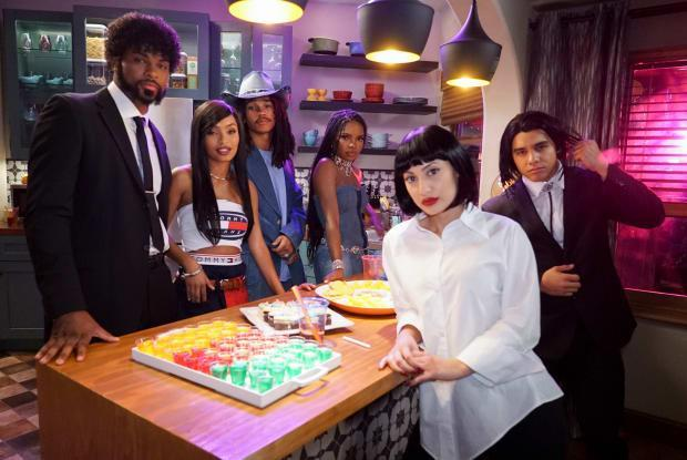 (L–R): Aaron (Trevor Jackson), Zoey (Yara Shahidi), Luca (Lukka Sabbat), Jillian (Ryan Destiny), Ana (Francia Raisa) and Vivek (Jordan Buhat) on the mid-season finale of 'grown-ish.'