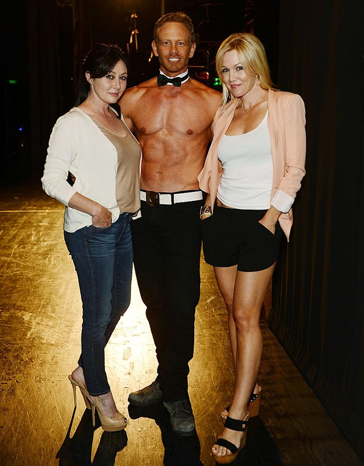 "Who would have thought the next ""Beverly Hills, 90210"" reunion would take place at a Vegas Chippendales show! Two of the show's former stars: Shannen Doherty (left) and Jennie Garth paid a visit to fellow show alum Ian Ziering backstage at his show with the male revue group at the Rio Hotel and Casino in Sin City on Sunday. We're sure the ladies had fun ... (6/30/2013)"