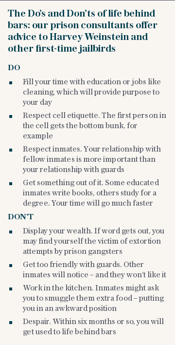 The Do's and Don'ts of life behind bars: our prison consultants offer advice to Harvey Weinstein and other first-time jailbirds