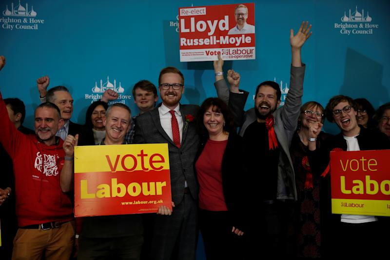 Labour Party candidate Lloyd Russell-Moyle celebrates with supporters after he is announced as the winner for the constituency of Brighton Kemptown at a counting centre for Britain's general election in Brighton, Britain December 13, 2019. REUTERS/Paul Childs