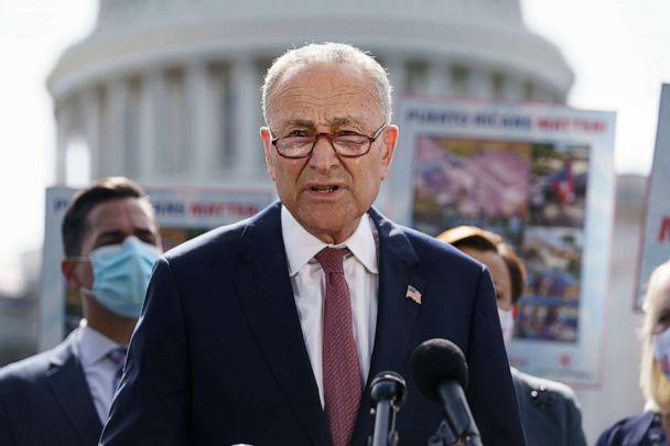 PHOTO: Senate Majority Leader Chuck Schumer, joins advocates for Puerto Rico, which still suffers from the effects of Hurricane Maria in 2017, at the Capitol, Sept. 20, 2021. (J. Scott Applewhite/AP)