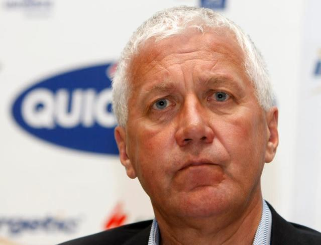 Lefevere Quick Step cycling team manager attends a news conference in Wielsbeke