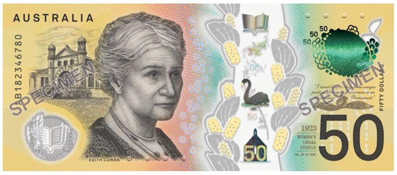 $50 note with Edith Cowan. (Image: RBA)