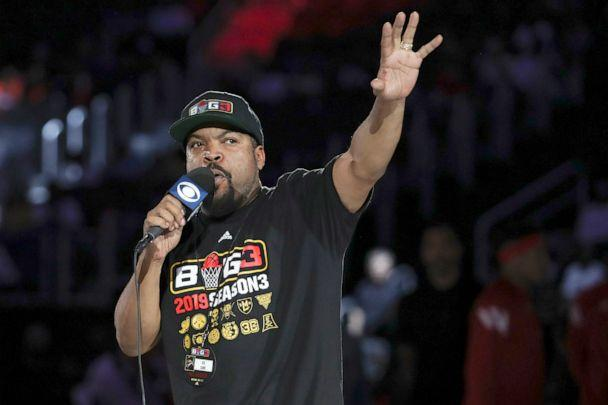 PHOTO:   Ice Cube speaks to the crowd before the basketball game between the 3 Headed Monsters and the Trilogy in Detroit, June 22, 2019. (USA Today Sports via Reuters, FILE)