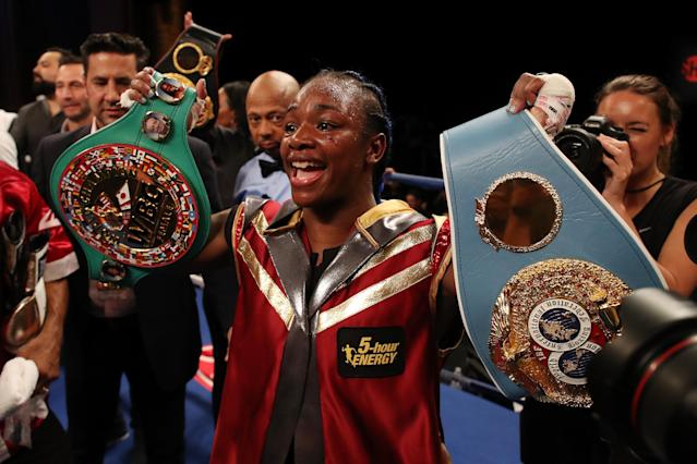 IBF-WBA middleweight champion Claressa Shields can become just the sixth boxer in history to hold all four major sanctioning body belts if she defeats Christina Hammer on Nov. 17 in Atlantic City. (Getty Images)