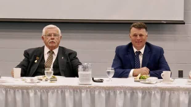 Summerside Mayor Basil Stewart and Premier Dennis King address a business luncheon at Credit Union Place on Tuesday. (John Robertson/CBC - image credit)