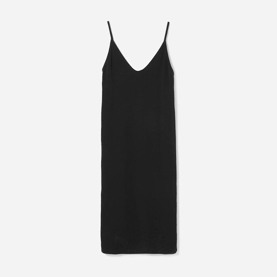 """<p><strong>Everlane</strong></p><p>everlane.com</p><p><a href=""""https://go.redirectingat.com?id=74968X1596630&url=https%3A%2F%2Fwww.everlane.com%2Fproducts%2Fwomens-japanese-goweave-slip-dress-black2&sref=https%3A%2F%2Fwww.harpersbazaar.com%2Ffashion%2Ftrends%2Fg37038622%2Feverlane-summer-sale-best-items%2F"""" rel=""""nofollow noopener"""" target=""""_blank"""" data-ylk=""""slk:Shop Now"""" class=""""link rapid-noclick-resp"""">Shop Now</a></p><p><strong><del>$98</del> $44</strong></p><p>At peak summer, this casual slip dresses is a standalone essential. Come fall, it's a match made in layering heaven with a long sleeve bodysuit and boots. </p>"""