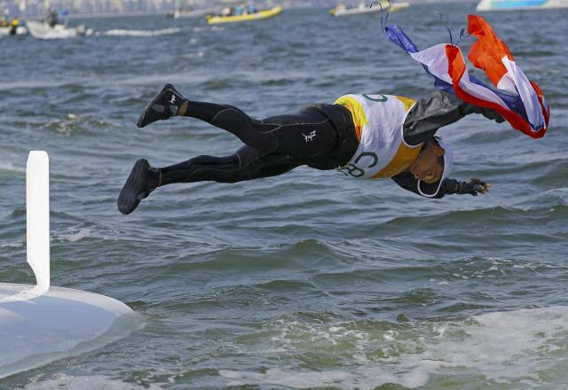 REFILE - ADDING INFORMATION 2016 Rio Olympics - Sailing - Final - Men's Two Person Dinghy - 470 - Medal Race - Marina de Gloria-Rio de Janeiro, Brazil - 18/08/2016. Igor Marenic (CRO) of Croatia celebrates gold medal. REUTERS/Brian Snyder FOR EDITORIAL USE ONLY. NOT FOR SALE FOR MARKETING OR ADVERTISING CAMPAIGNS.