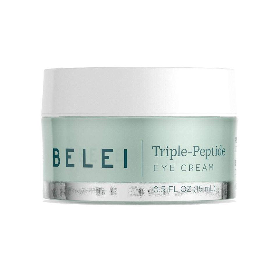 """<h3><h2>Triple-Peptide Eye Cream</h2></h3><br>""""I have super Sensitive — yes, capital S — skin, so was a bit nervous about swatching to a new product on my face (a place prone to eczema and perioral dermatitis). My initial reaction to this """"triple-peptide"""" cream was that it felt light and rich without being overly greasy once applied to my under eyes. I echo the Amazon-reviewer chorus in the sentiment that a little does, in fact, go a long way. After a few days of use, I haven't noticed any major brightening results as far as dark circles go...But, I also haven't experienced any flareups or irritations from my forever moody complexion."""" — Elizabeth Buxton, Editor<br><br><strong>Belei</strong> Triple-Peptide Under Eye Cream, $, available at <a href=""""https://amzn.to/3vB8EYo"""" rel=""""nofollow noopener"""" target=""""_blank"""" data-ylk=""""slk:Amazon"""" class=""""link rapid-noclick-resp"""">Amazon</a>"""