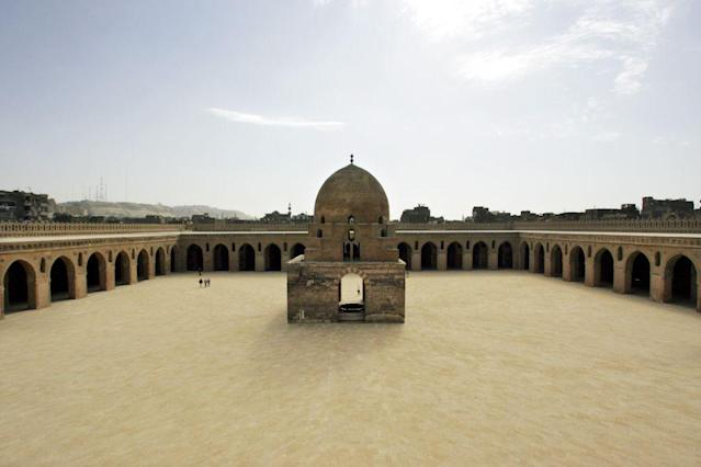 <b>CAIRO, EGYPT:</b> A view of the inner courtyard of the Ibn Tulun Mosque in Cairo, Egypt. The mosque, built by Ibn Tulun, the Abbassid governor of Egypt from 868–884, in 876 AD. It is one of the largest mosques in the world with an inner courtyard large enough for most of his army and their horses and the 13th century fountain in the centre of the courtyard continues to provide water for ablutions before prayers.