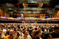 A photo of the auditorium at the Montreux Jazz Festival in 2009 captures the electric atmosphere at the Swiss musical celebration.