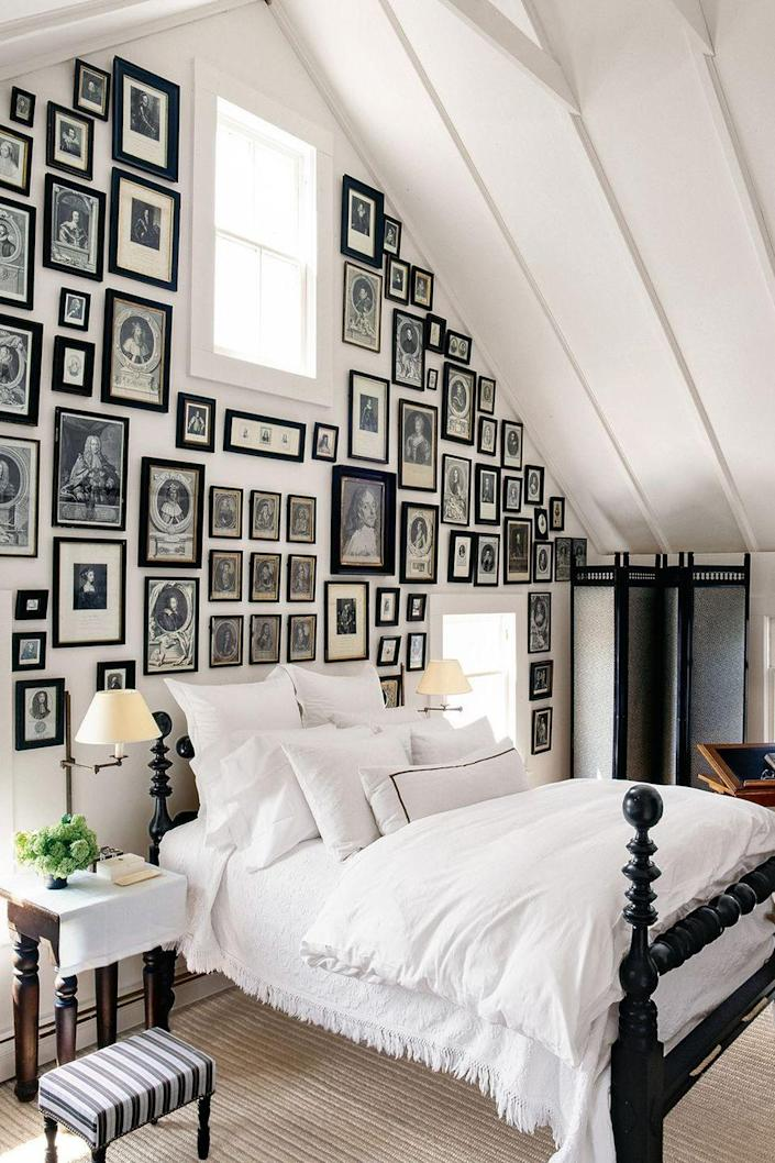 <p>If you really want to make a design statement, frame your best black-and-white prints and hang them on the wall behind your bed. Feel free to stick to all-black frames for a cohesive look.</p>