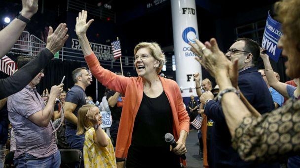 PHOTO: Senator Elizabeth Warren, a Democrat from Massachusetts and 2020 presidential candidate, greets supporters as her arrives for a town hall event in Miami, Florida, U.S., on Tuesday, June 25, 2019. (Marco Bello/Bloomberg via Getty Images)