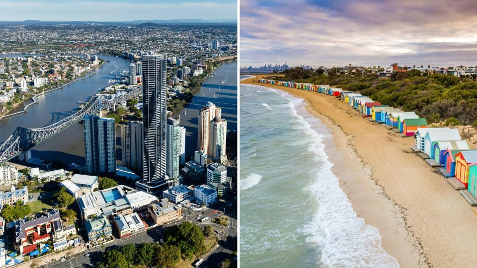 Brisbane aerial shot on the left and Melbourne's Brighton beach on the right.