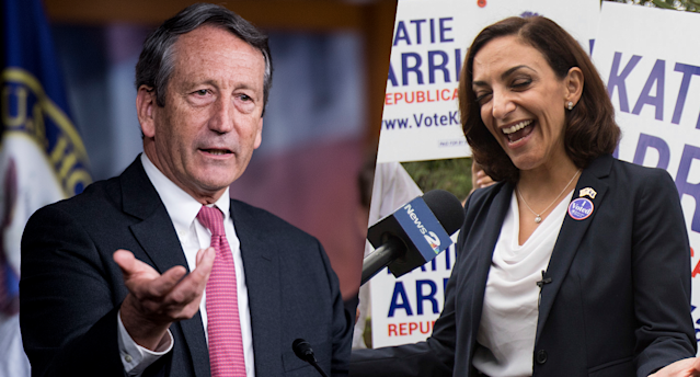 Rep. Mark Sanford, R-S.C., left, and South Carolina state Rep.Katie Arrington. (Photos: Bill Clark/CQ Roll Call, Kathryn Ziesig/The Post and Courier via AP)